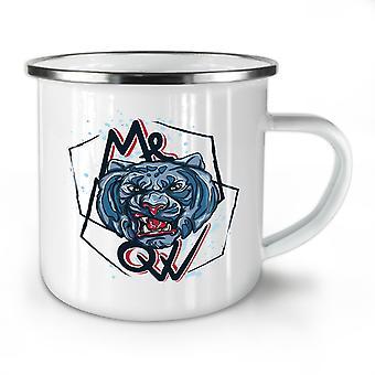 Meow Tiger Face NEW WhiteTea Coffee Enamel Mug10 oz | Wellcoda