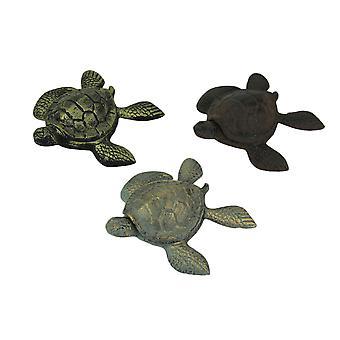 Set van 3 gietijzer bruin blauw Brass schildpad Trinket vakken