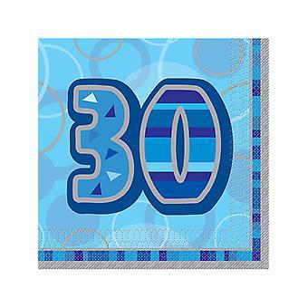 Fødselsdag Glitz blå - 30th Birthday - frokost servietter