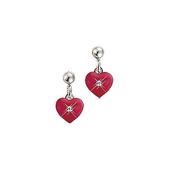 Scout kinderen oorbellen zilver hart rood meisje 262146100