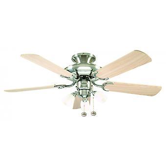 Ventilateur de plafond Mayfair Combi acier avec lumière 107cm/42