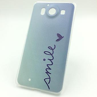 Mobiltelefon fallet för Microsoft Lumia 950 cover case skyddande väska motiv slim silikon TPU bokstäver leende Blau
