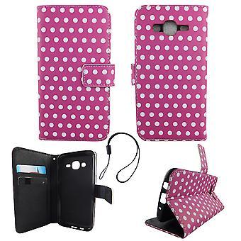 Mobiele telefoon geval zakje voor mobiele Samsung Galaxy J5 2015 polka dot zwart wit