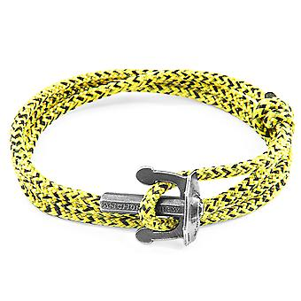 Anchor & Crew Yellow Noir Union Anchor Silver and Rope Bracelet