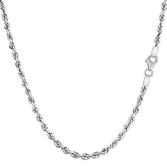14k White Solid Gold Diamond Cut Rope Chain Necklace, 2.5mm