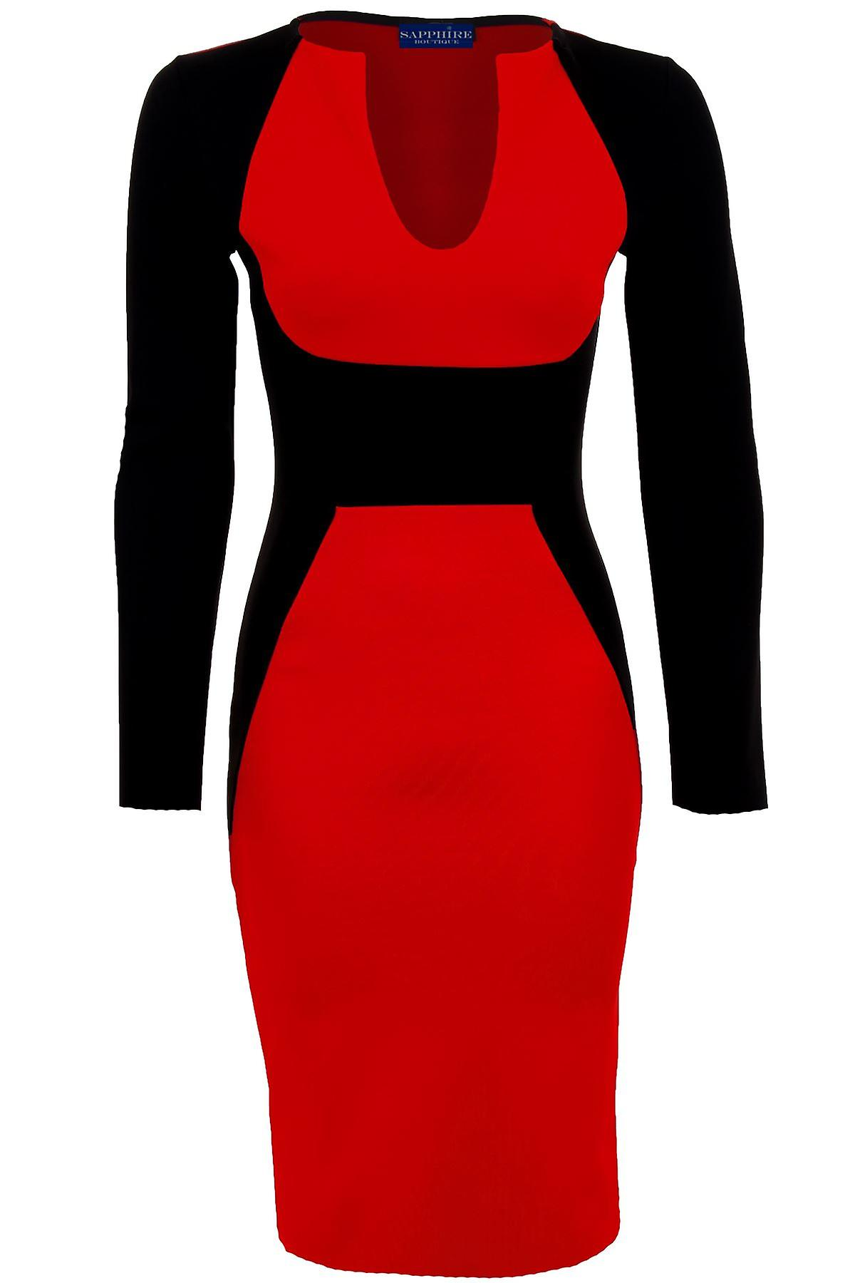 Ladies Long Sleeve V neck Black Contrast Midi Knee Length Womens Bodycon Party Dress
