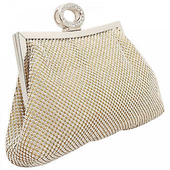 Peach Diamante Clutch Bag With Chain Strap