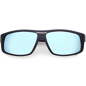 Métal plat hommes d'armes Rectangle lunettes de soleil polarisées Lens 58mm