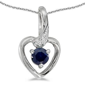 LXR 14k White Gold Round Sapphire and Diamond Heart Pendant 0.22ct