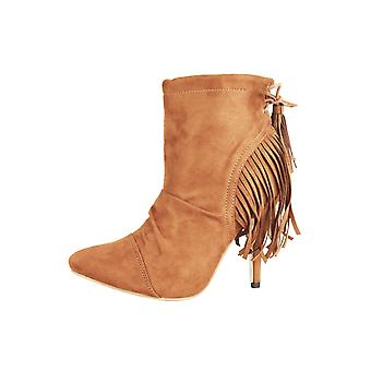 Lovemystyle Brown Suede Ankle Boots With Fringe Back Detail