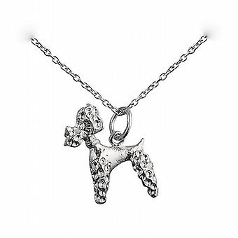 Silver 18x15mm Poodle Pendant with a rolo Chain 24 inches