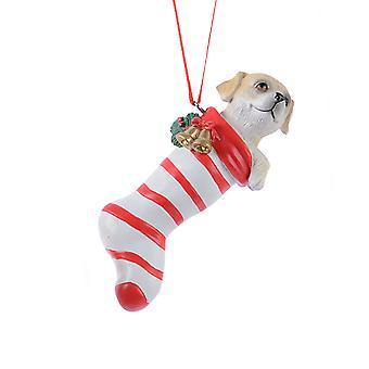 TRIXES hund röd randig strumpa Xmas keramiska prydnad