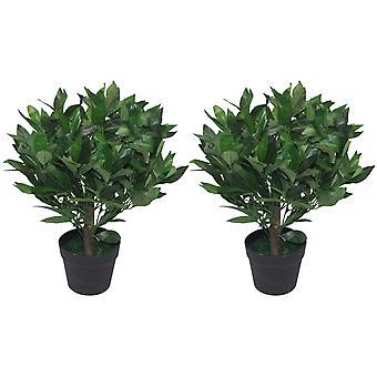 Paio di cespugli di 50cm nani alberi artificiali Bay Laurel Topiary
