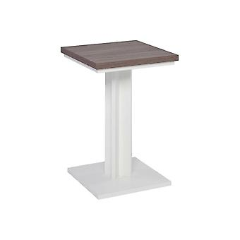 Gillmore Matt White And Walnut Laminated Contemporary Side Table