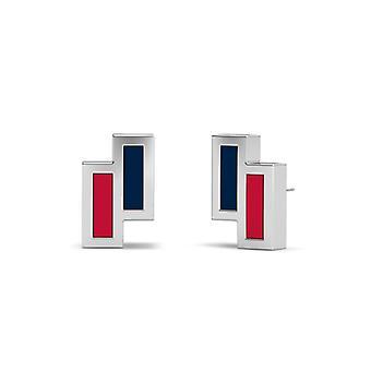 Minnesota Twins Sterling Silver Asymmetric Enamel Stud Earrings In Blue and Red