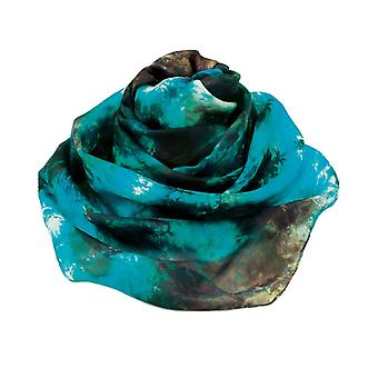 Eternal Collection Oceanic Turquoise Multi Tie Dye Oblong Pure Silk Scarf