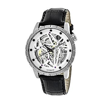 Reign Xavier Automatic Skeleton Leather-Band Watch - Silver