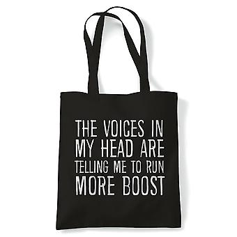 Voices In My Head Run More Boost, Tote - Reusable Shopping Canvas Bag Gift