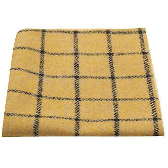 Honey Brown Birdseye Check Pocket Square, Handkerchief