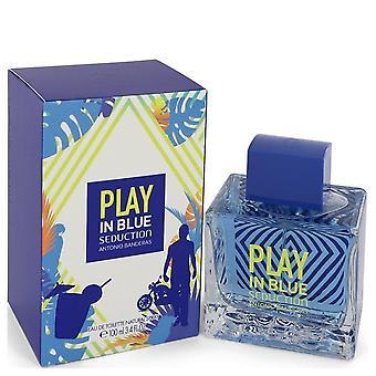 اللعب في الإغواء الأزرق eau de toilette رذاذ بواسطة انطونيو banderas 542339 100 مل