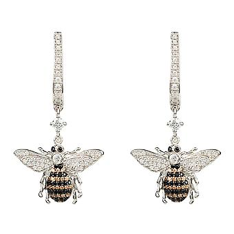 Honey Bee Sterling Silver Drop Boucle d'oreille CZ Gemstone Gift Statement Dangle Boxed
