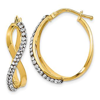 14k Yellow Gold Twisted Polished Hinged post Crystal Earrings Jewelry Gifts for Women - 2.1 Grams