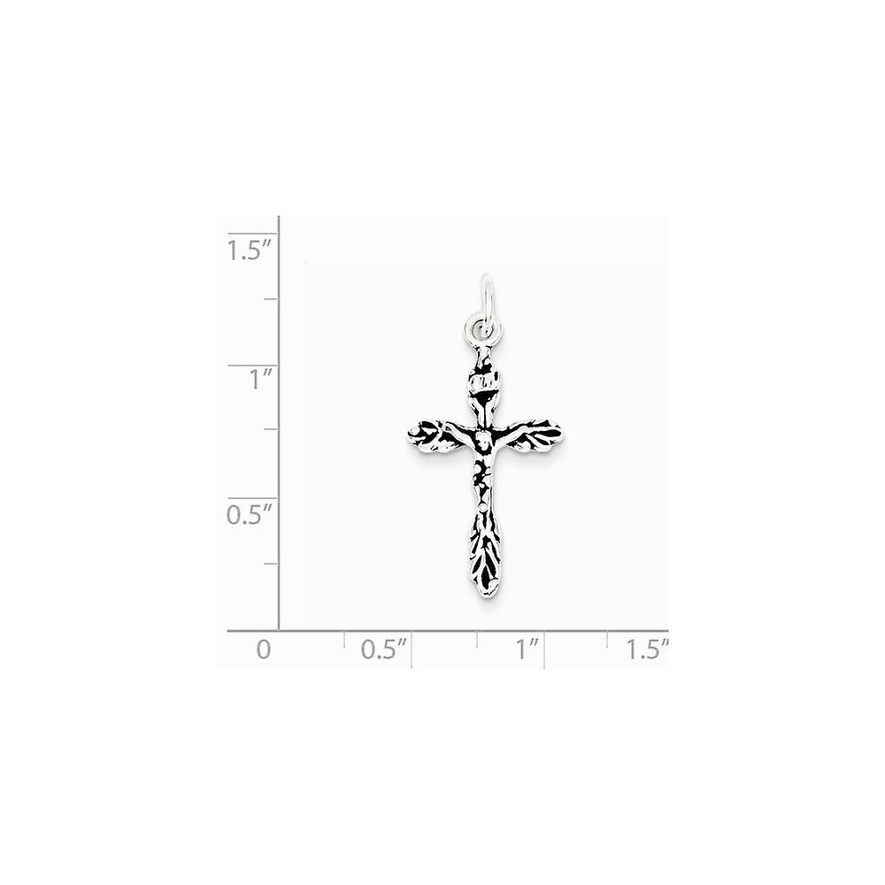 925 Sterling Silver Polished Crucifix Charm Pendant Necklace Jewelry Gifts for Women - 1.3 Grams