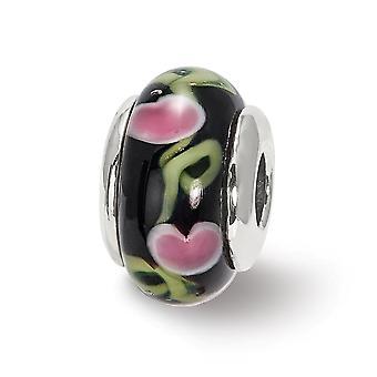 925 Sterling Silver finition polonaise Reflections Kids Black Murano Glass Bead Charm Pendant Necklace Bijoux Cadeaux pour Wo