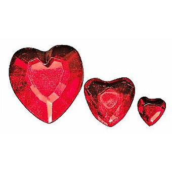 310 Assorted Red Heart Shaped Acrylic Rhinestones