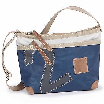 360deg Deern Lütt blue canvas bag with number grey shoulder bag
