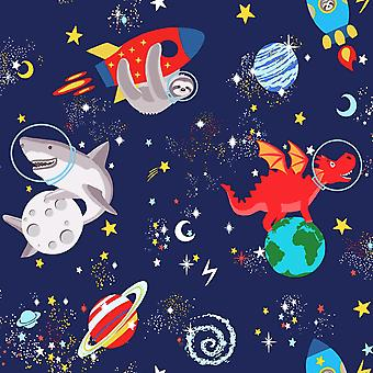 Over the Rainbow Space Animals Glow in the Dark Wallpaper Holden
