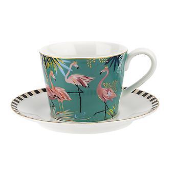 Sara Miller Tahiti thee kop en schotel, Flamingo