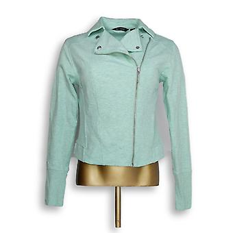 H di Halston Women's Francese Terry Motorcycle Jacket Green A285191