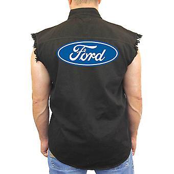Camisa de brim sem mangas FORD construiu motociclista dura