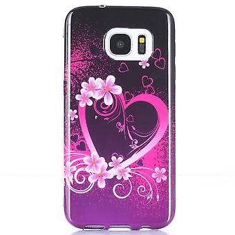 Hull For Samsung Galaxy S7 Heart And Flowers Pattern
