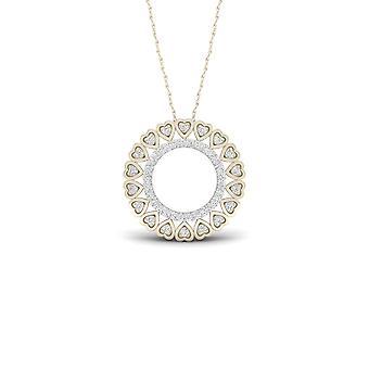 Igi certified 10k yellow gold 0.16ct tdw diamond filigree circle necklace