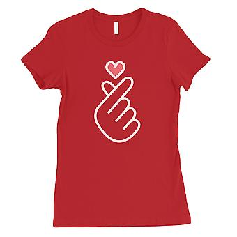 365 Printing Finger Heart Womens Red Romantic Sweet Simplicity T-Shirt