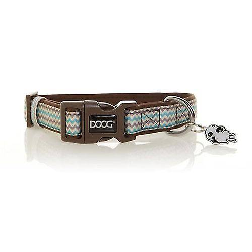 Doog Neoprene Dog Collar, Small  (Benji - Brown And Blue Zigzag)