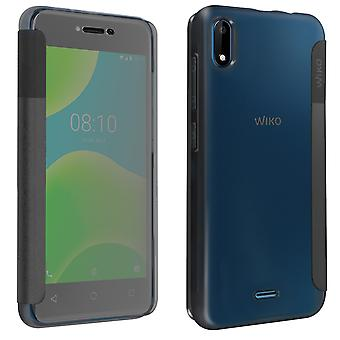 Original Easy Folio Case for Wiko Y50 Shockproof Translucent Flap-Charcoal grey