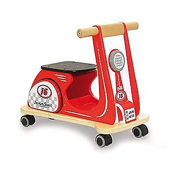 Jamm indaco in legno Jamm Scoot, Ride-On Scooter giocattolo con Design retrò classico per i bambini di età compresa tra 12 mesi più Racing Red