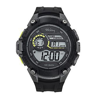 Tekday 655053 Watch - Digital Multifunction Silicone Black and Grey Yellow Hue Men