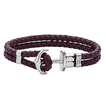 Paul Hewitt PH-PH-L-S-DM Bracelet - Steel Anchor PHREP Purple Leather
