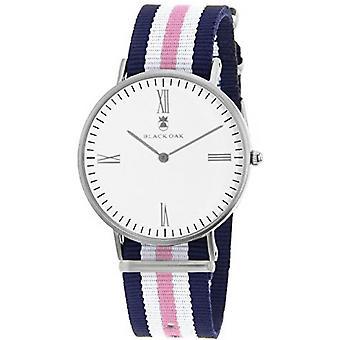 Black Oak Watch BX57204-001 - Blue Fabric Case Silver Steel White Dial White Woman