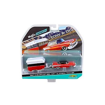 1957 Chevrolet Bel Air with Alameda Trailer Red Tow & Go 1/64 Diecast Model by Maisto