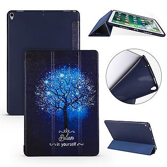 iPad Air 3 (2019) kotelo, Folio PU nahka + TPU 3-kertainen haltija kansi, sininen puu