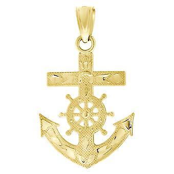 10k Giallo Oro Uomo Textured Nave Ancora Fascino Ciondolo Collana Misure 24.5x14.40mm Wide Gioielli Regali per Gli Uomini