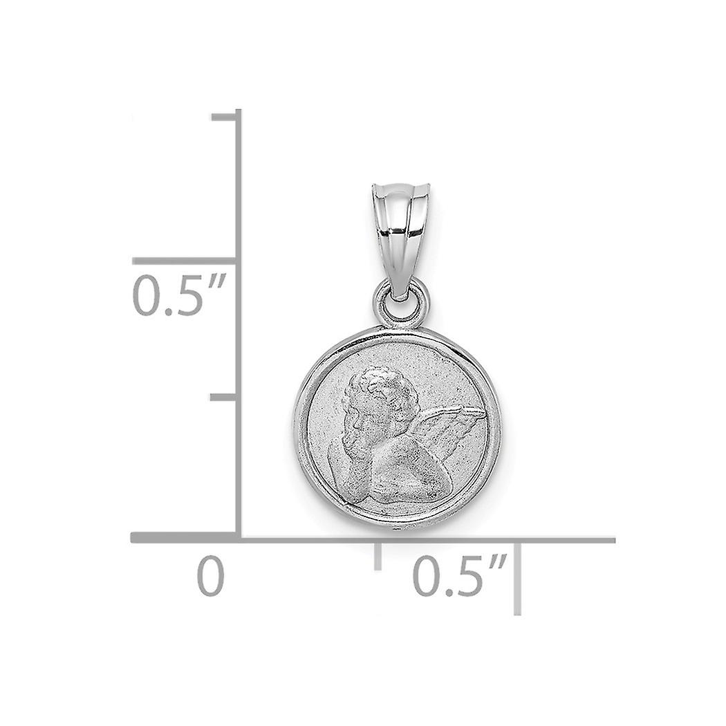 14k Gold White 10mm Religious Guardian Angel Coin Pendant Necklace Engraved Jewelry Gifts for Women