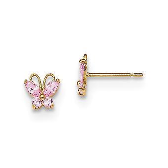 6.3mm 14k Madi K Kids Pink CZ Cubic Zirconia Simulerad Diamond Butterfly Angel Wings Post Earings Smycken Gåvor för Wome