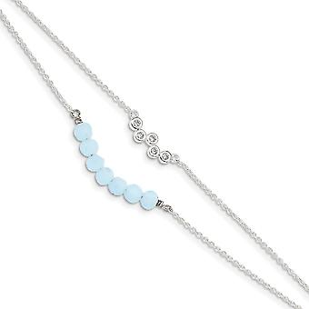 925 Sterling Silver CZ Cubic Zirconia Simulated Diamond and Blue Glass Beads With 1inch Ext. Bracelet 6 Inch