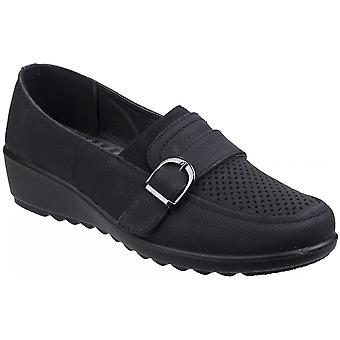 Caravelle Womens Brampton Slip On Buckle Comfy Wedged Shoes
